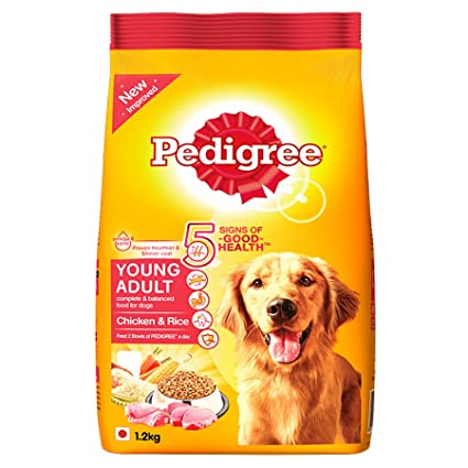 Buy Pedigree Dry Dog Food Chicken Rice For Young Adult Dogs 12