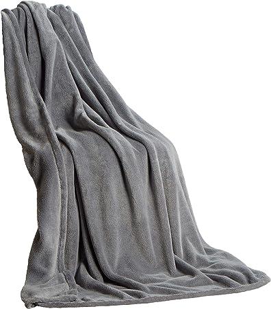 Couverture Couverture 150x200 cm douillet Douce Peluche Couverture en polyester en gris