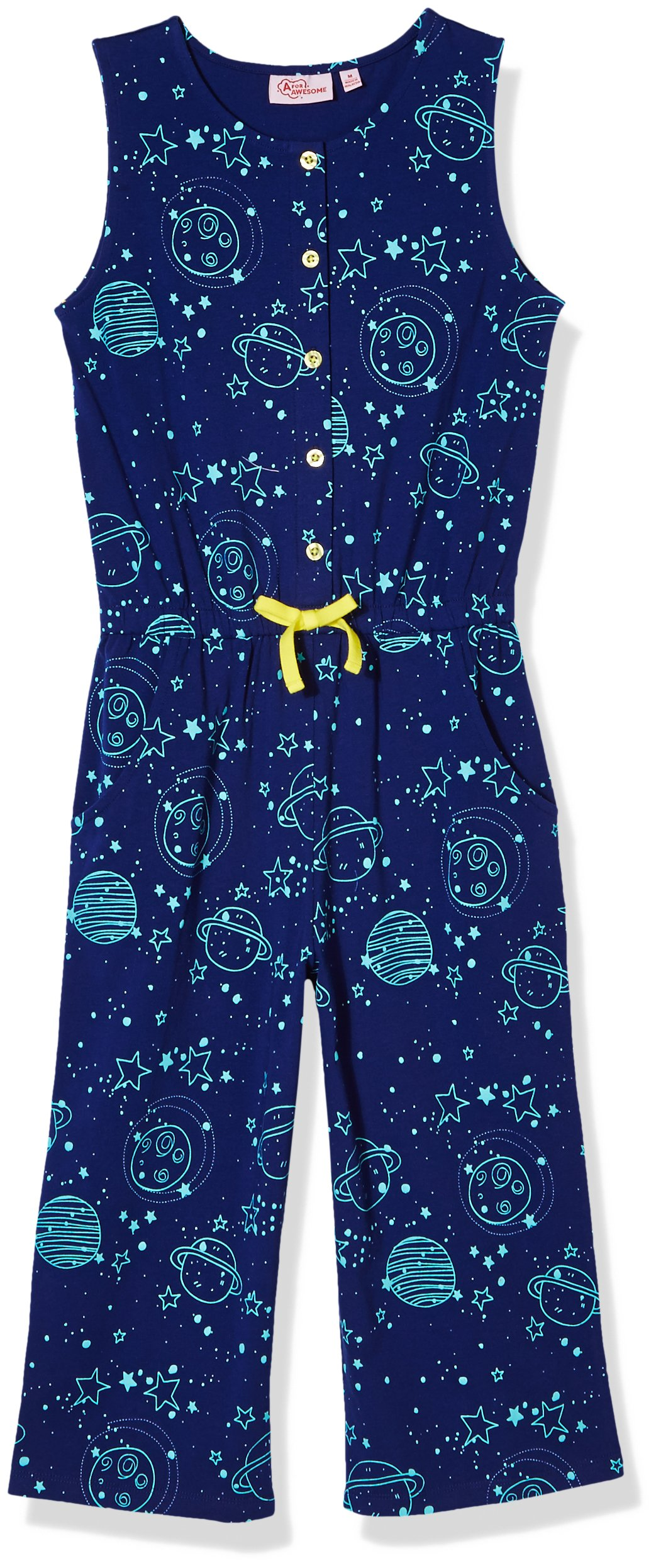 A for Awesome Girls Wide Leg Printed Sleeveless Cotton Jersey Jumpsuit with Sleeveless Small Girls Space AOP
