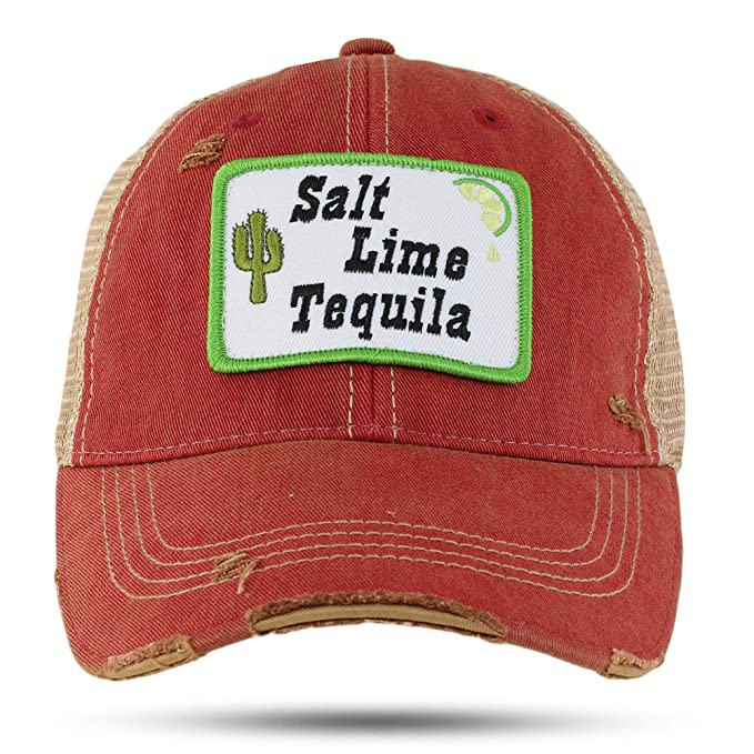 2ca201bf Georgia Girl Cinco de Mayo- Salt, Lime, and Tequila Distressed Red Truckers  Cap: Amazon.ca: Clothing & Accessories