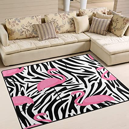 Pink Flamingo Bird Zebra Print Area Rug Rugs for Living Room Bedroom 80 x  58 inch