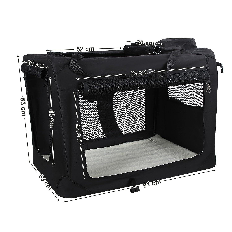 M 60 x 40 x 40 cm PDC60H SONGMICS Cage de Transport Caisse Sac de Transport Pliable pour Chien Animal Domestique Noir