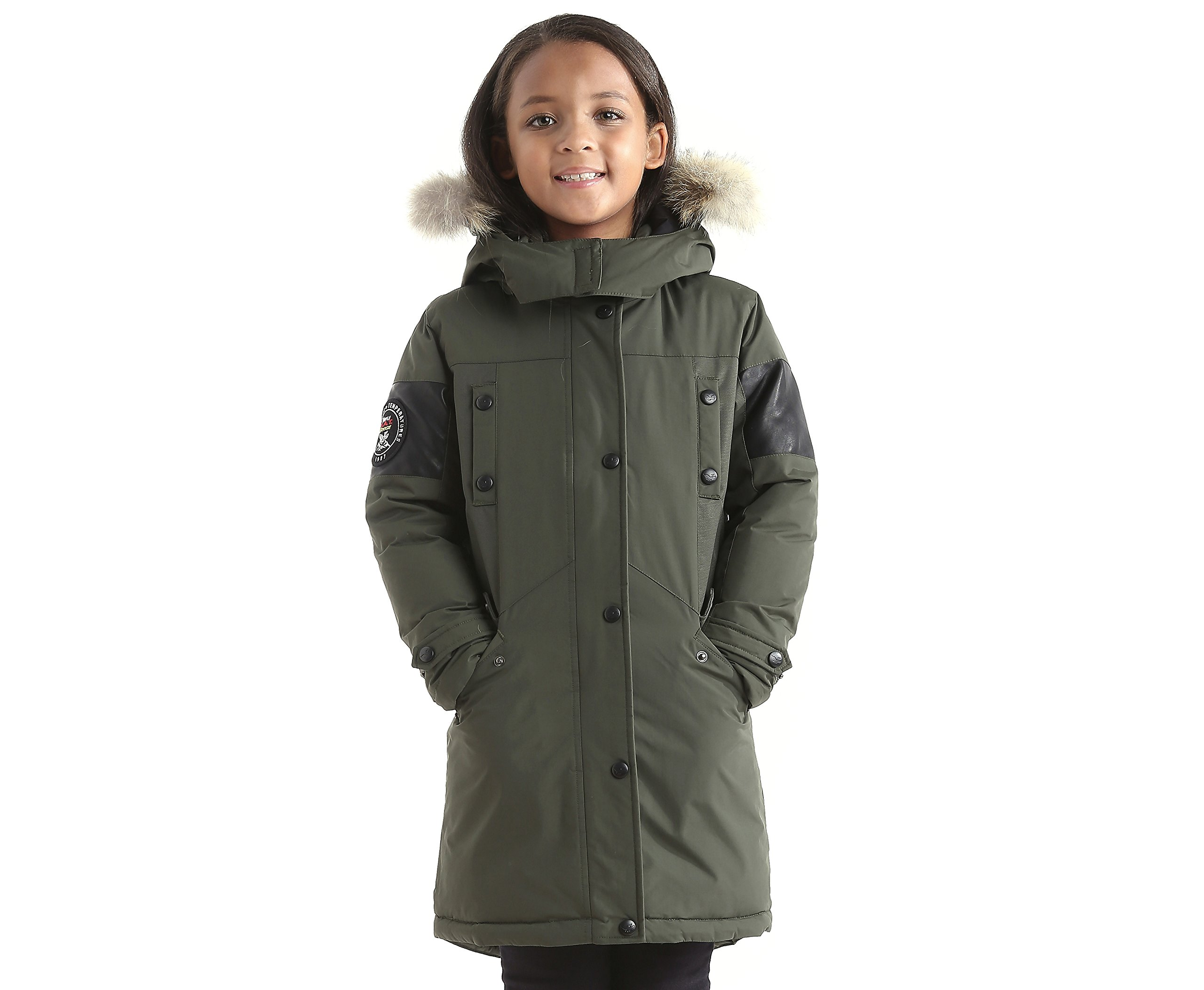 Triple F.A.T. Goose Embree Girls Down Jacket Parka with Real Coyote Fur (12, Olive)
