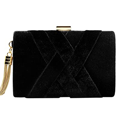 df3d666eaa1 Women's Evening Clutch Bag Stain Fabric Bridal Purse for Wedding Prom Night  Out Party Black