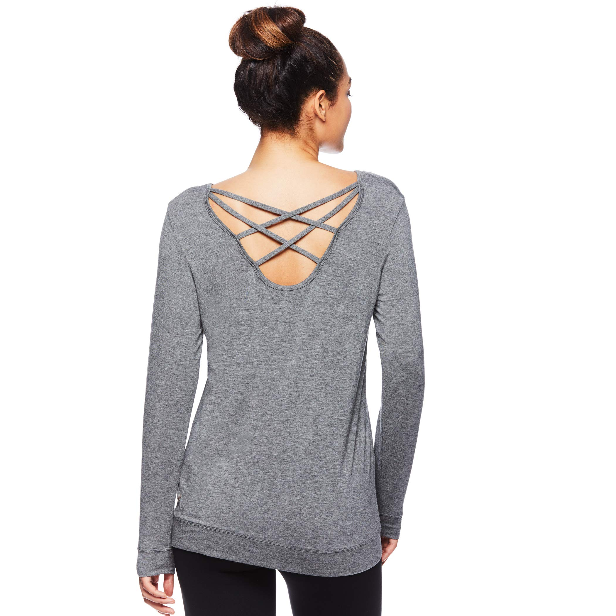Gaiam Women's Long Sleeve Yoga & Workout T Shirt - Activewear Top w/Open Back Detail - Emma Flint Grey Heather, Small by Gaiam