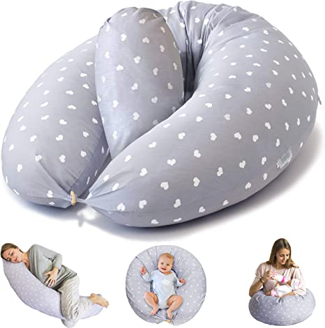 Grey and White Stripes Cotton Maternity Cushion Nursing and Pregnancy Pillow Widgey 5-in-1 Multi-Function Feeding Pillow