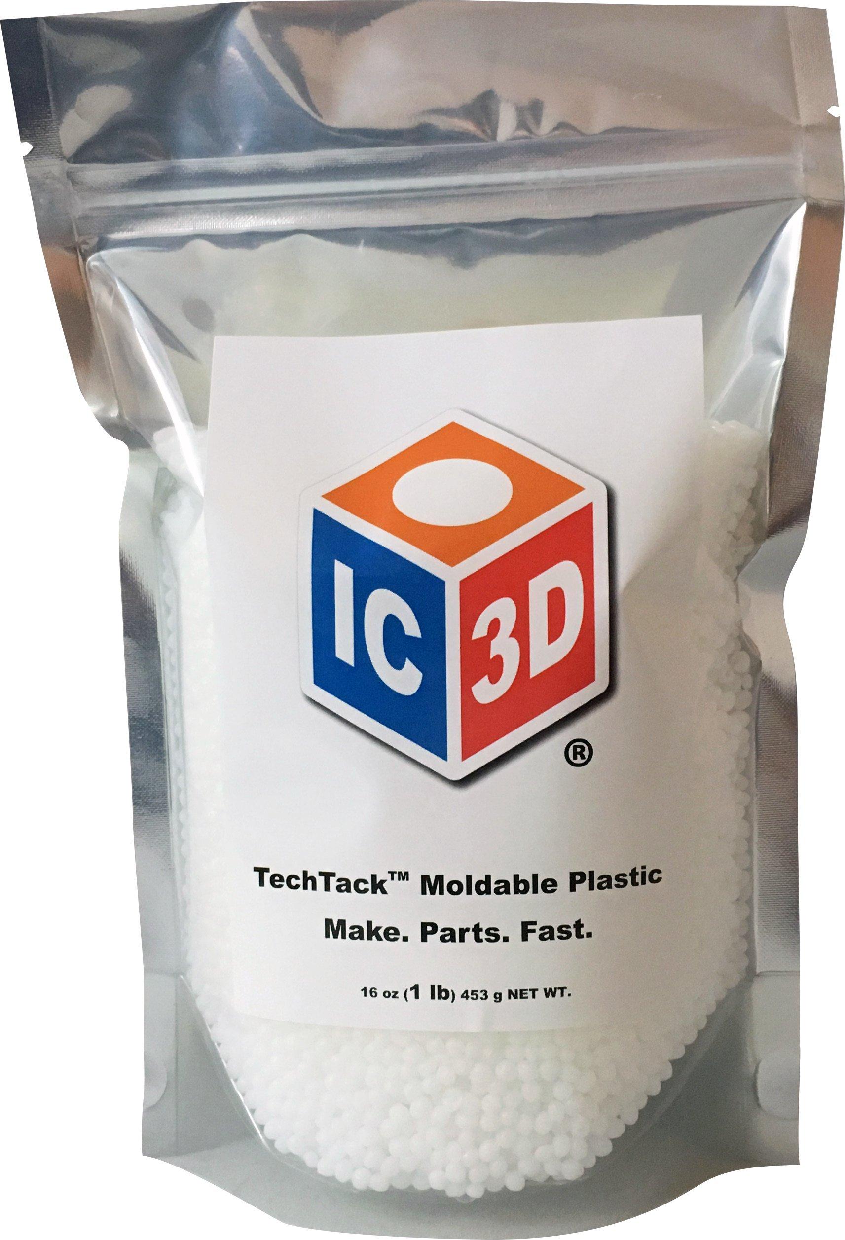 IC3D TechTack Moldable Plastic Pellets PCL - 16 Oz (1lb) Resealable Bag - Professional Grade Low Temp Melting Plastic