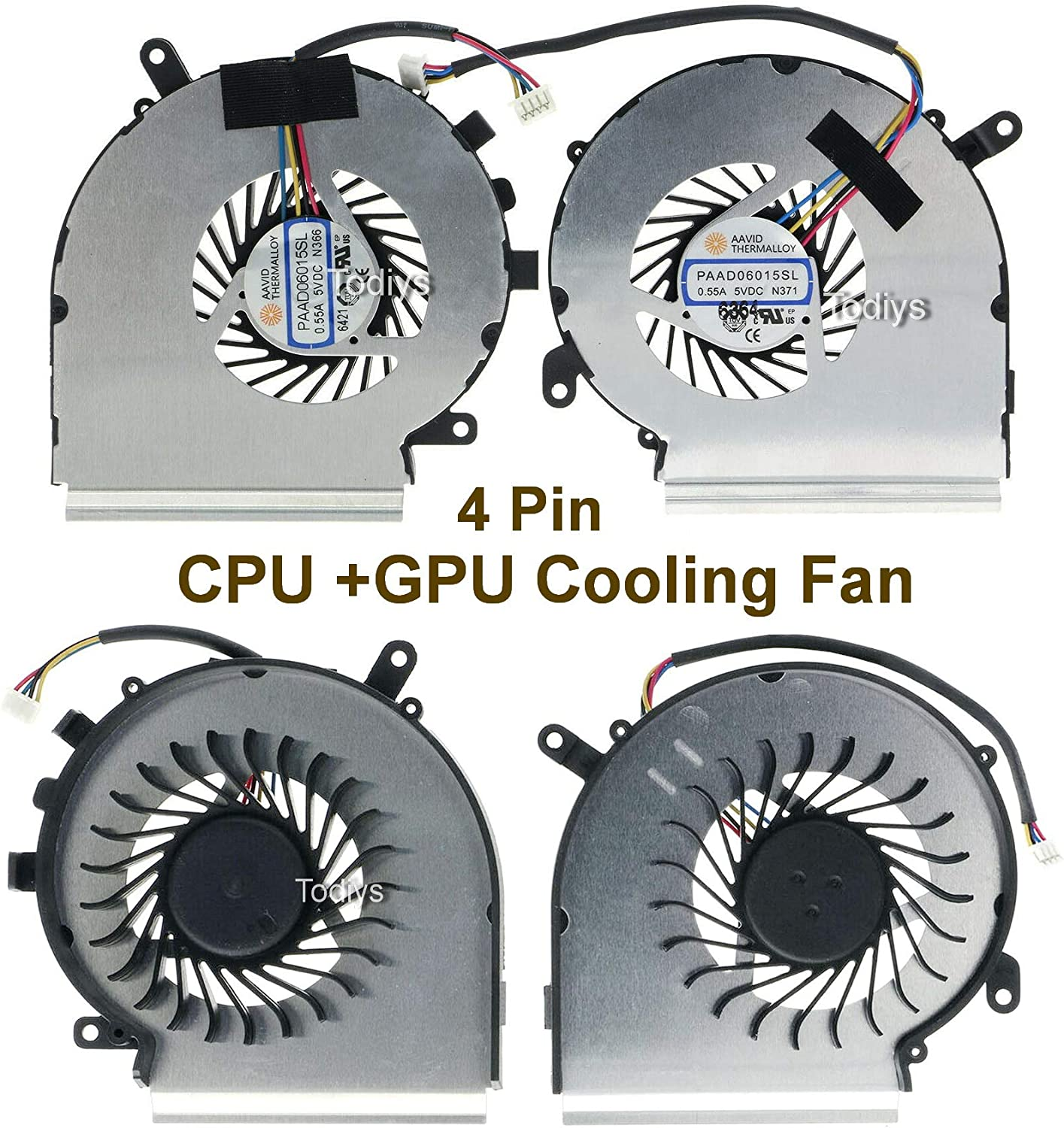 Todiys CPU + GPU Cooling Fan 4-Pin for MSI GE62VR 6QF 6RE 6RF 7RD 7RE 7RF Apache Pro Series GE62VR 6QF-233US 6RF-004CA 6RF-027UK 6RF-086US 7RF-290DE 7RF-436AU 7RF-866AU MS-16JB PAAD06015SL N366 N371