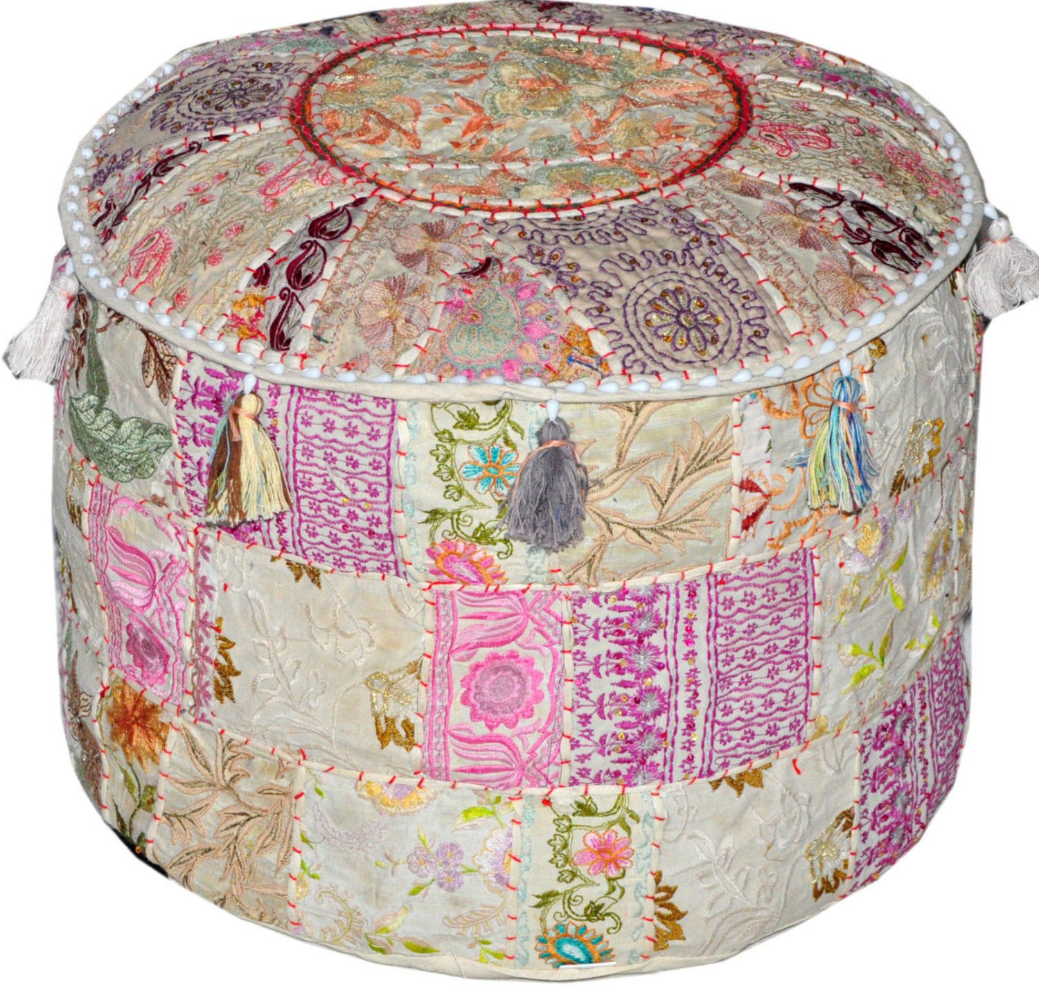khushvin Handmade Pouf Indian Patchwork Foot stool Ottoman 22x14 Bohemian Indian Patchwork Ottoman White Vintage Sari Patchwork Ottoman Traditional Ottoman