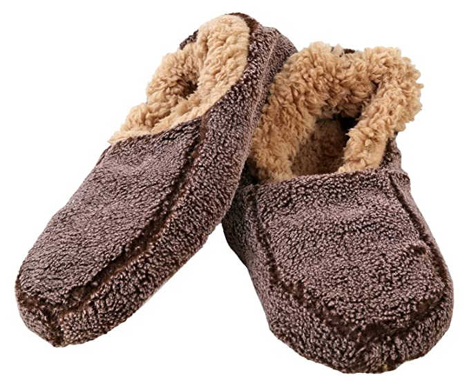 4dbfe689771a Snoozies Mens Two Tone Fleece Lined Non-Skid Slipper Socks - Chocolate