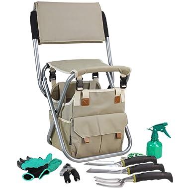 Garden Tools Set Organizer | Garden Seat Folding Stool Gardening Chair Kneeler With Backing | Gardener Bag | Gardening Tools Set | Digging Claw Gardening Gloves Succulent Tool Set | Garden Supplies