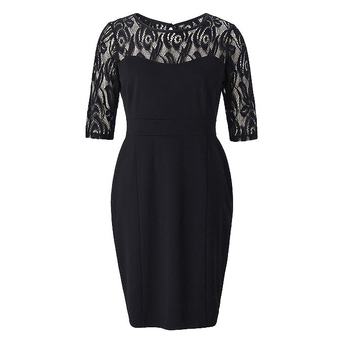 Chicwe Vestido Recto Tallas Grandes Mujeres Vestidos Elásticos con Camiseta Top con Encaje Floral Negro 1X