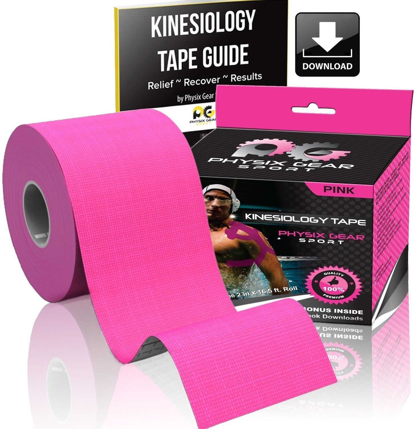Physix Gear Sport Kinesiology Tape - Free Illustrated E-Guide - 16ft Uncut Roll - Best Pain Relief Adhesive for Muscles, Shin Splints Knee & Shoulder - 24/7 Waterproof Therapeutic Aid (1PK PNK) by Physix Gear Sport (Image #2)