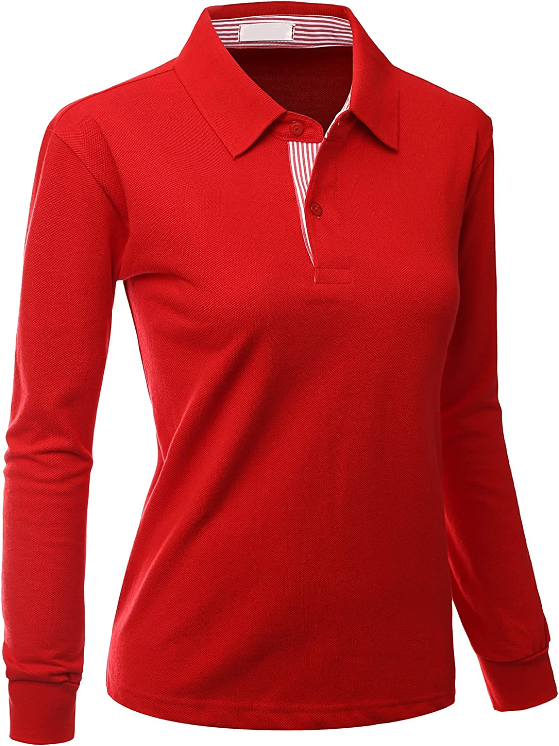Xpril Women's Casual Basic Sporty Long Sleeve Polo Collar T-Shirt at  Women's Clothing store
