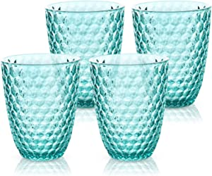 BELLAFORTE - Shatterproof Tritan Short Tumbler Blue, 13oz, set of 4, Laguna Beach drinking glasses, Dishwasher safe plastic Tumblers - Unbreakable Glassware for indoor and Outdoor Use, BPA free