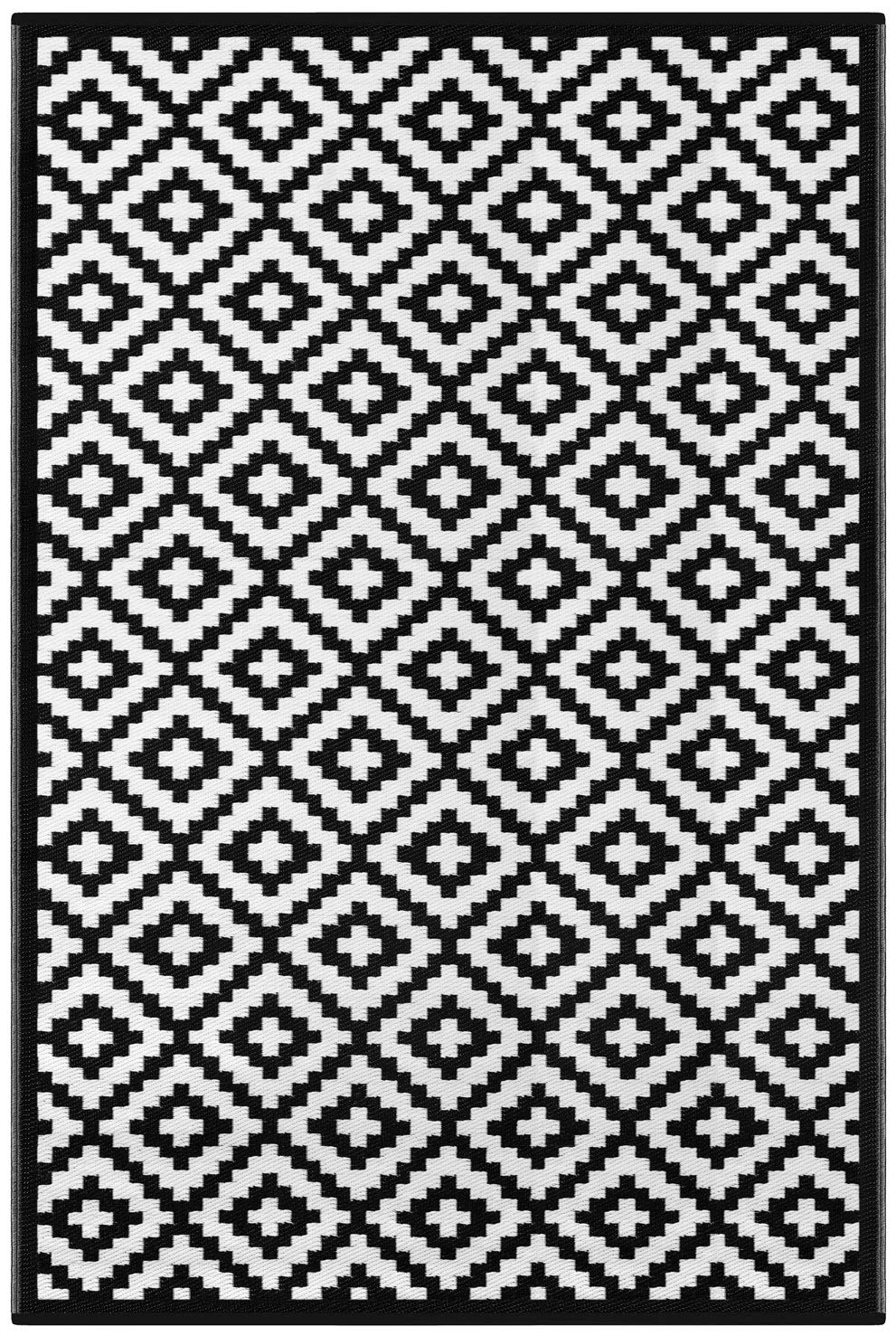 Green Decore Lightweight Outdoor Reversible Plastic Rug (70 x 180 cm, Grey/White) 196