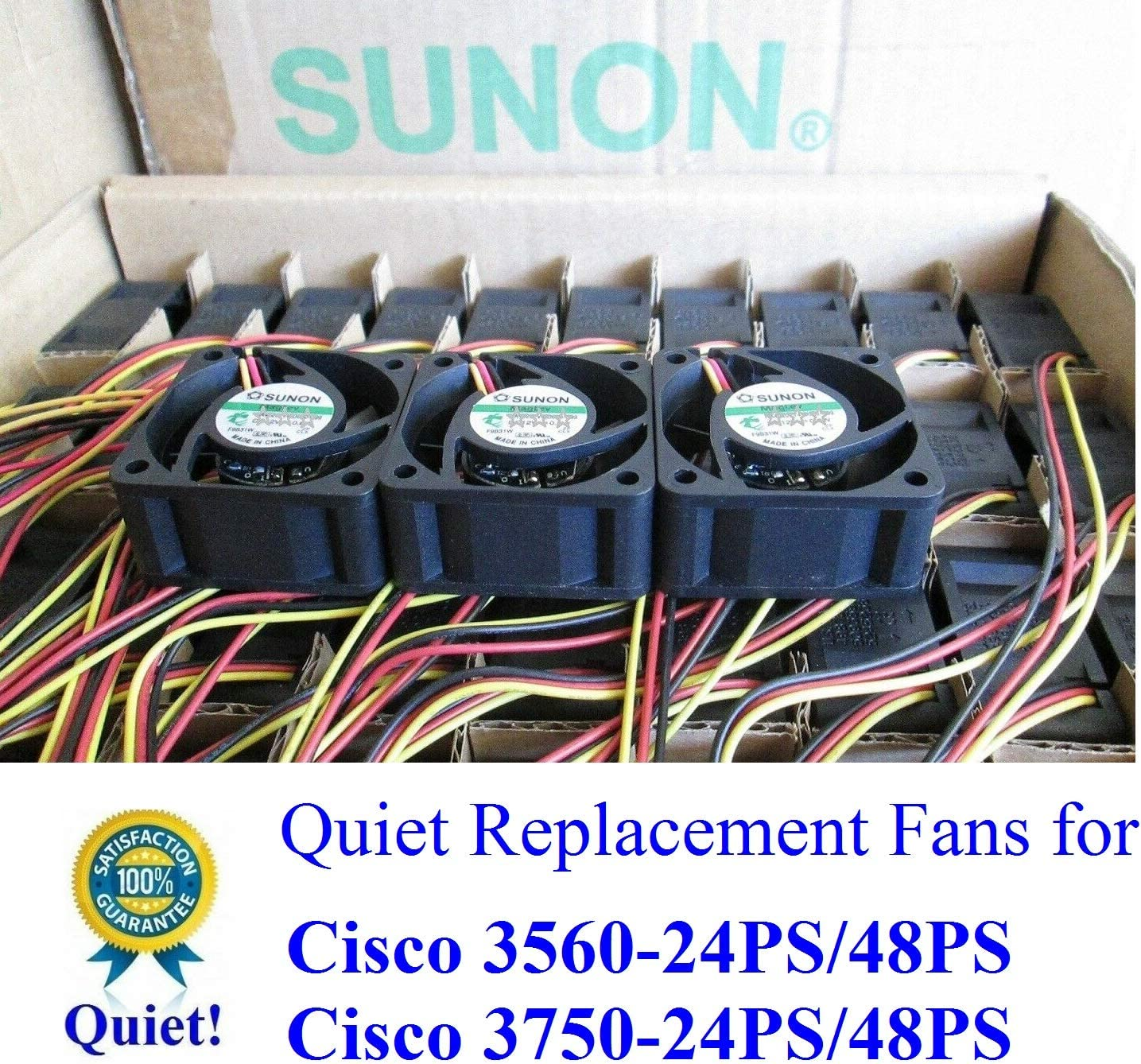 3 PackQuiet Version Sunon Replacement Fans for Cisco C3560-24PS//48PS C3750-24PS//48PS