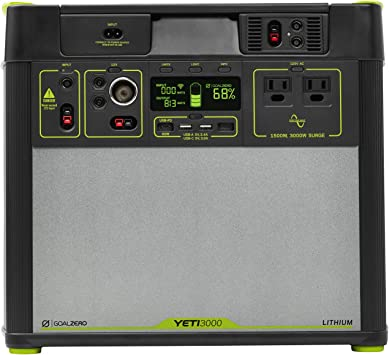Goal Zero Yeti 3000 estación de energía portátil de litio, WiFi móvil App, 3024 Wh/280 Ah Silent Gas Free Generator Alternativa con 1500 W (3000 Watt ...