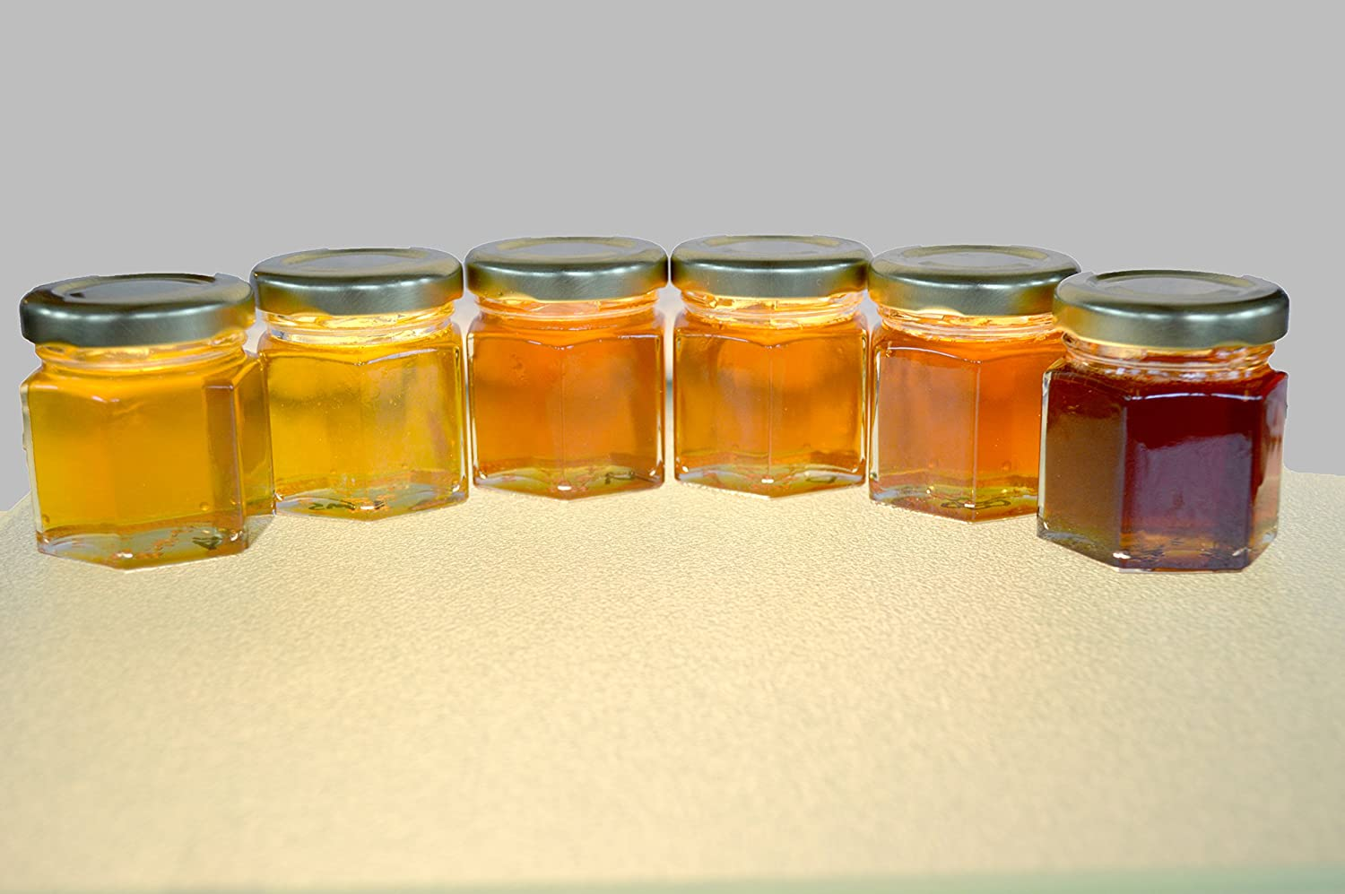 A Pure Raw Honey Gift Samplers of different Varietal Honey 6 (2 oz.) Jars, In Gift Box Black Bonnet Amish Farms 6-2oz