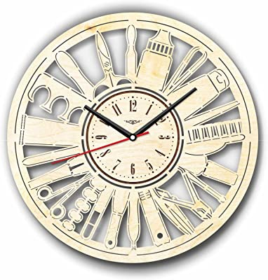 7ArtsStudio Pedicure Manicure Salon Wall Clock Made of Wood - Perfect and Beautifully Cut - Decorate
