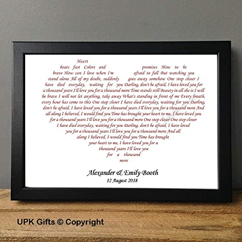 Personalised Song lyrics Valentine/'s Day Gift Christina Perri A Thousand Years