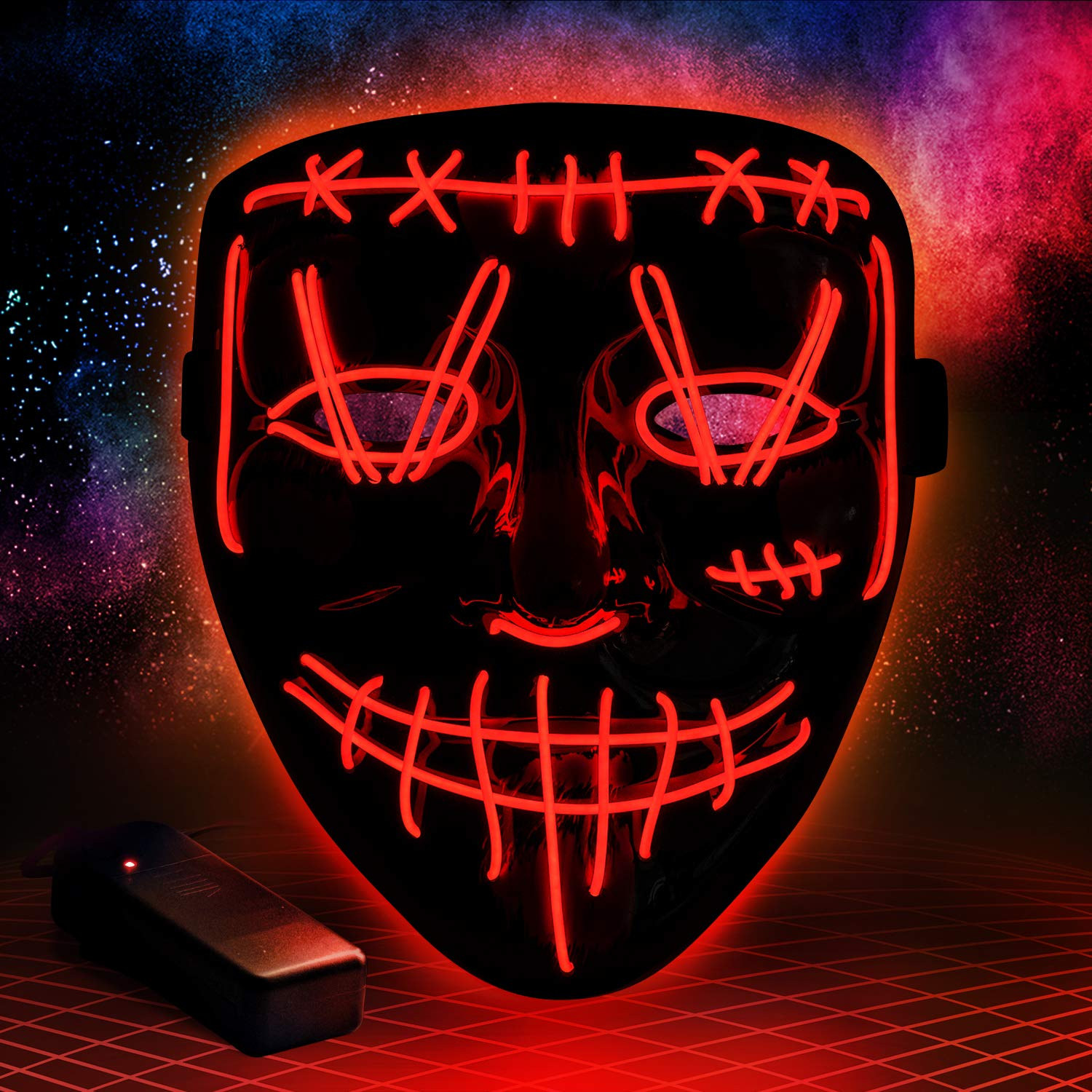 Halloween Led Purge Mask Light Up Scary Mask EL Wire Cool Costume Festival Parties Raves Unisex by SIPU