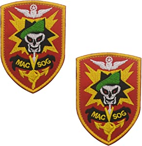 Mac SOG Vietnam Skull Logo Emblem Embroidered Badge Fastener Hook & Loop Patch Sew-on Patches 3.54 x2.48 inch Sized 2PCS
