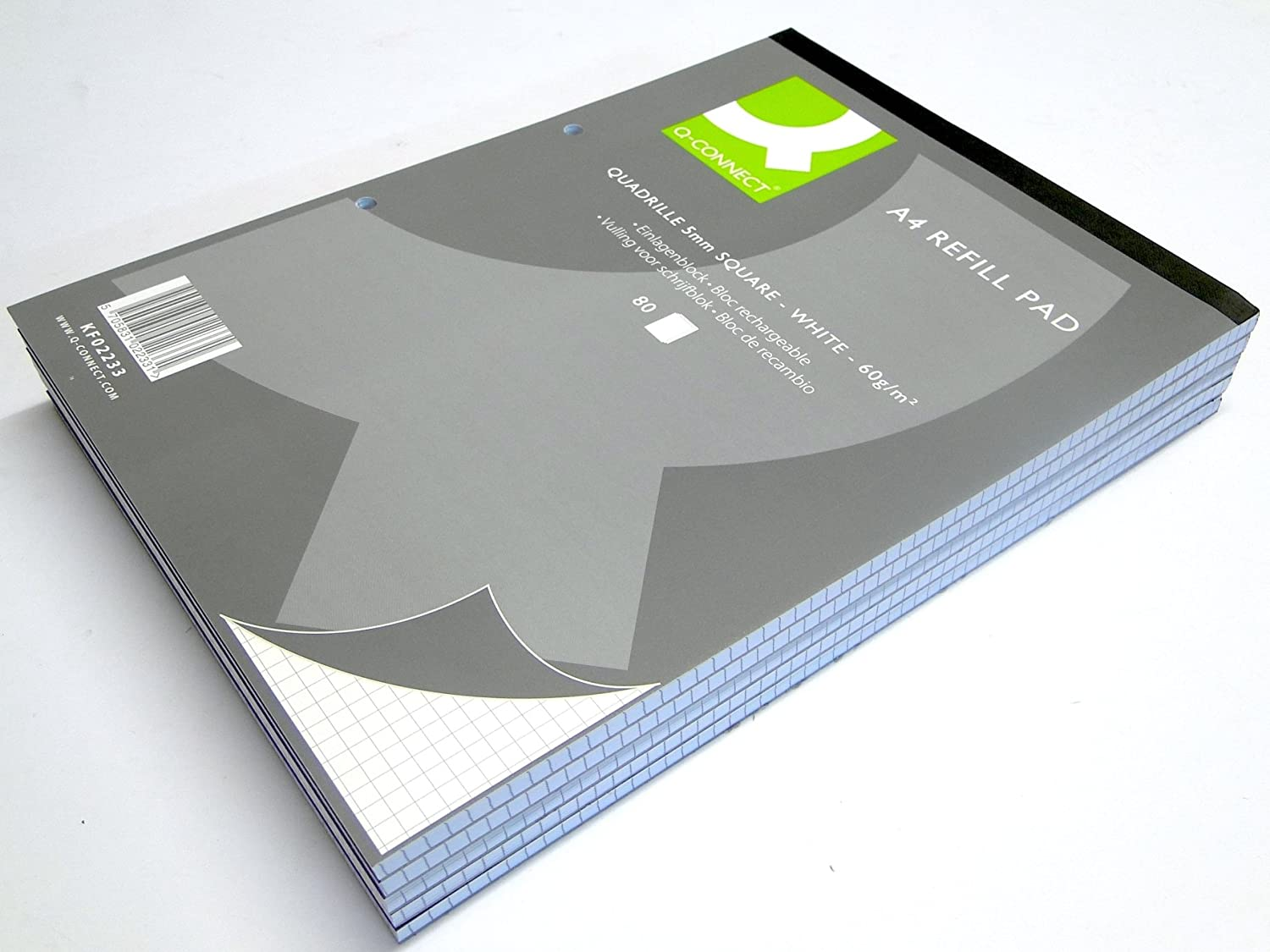 KF02231 Quality A4 Graph Pad Punched Holes Head Bound 80 Sheets Squared Refill