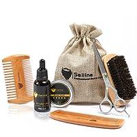 Sailine, Kit 6 in1 per il taglio e la cura della barba con spazzola, 2pettini, olio trattante per barba e baffi, balsamo burro e cera, Set regalo da viaggio con borsa