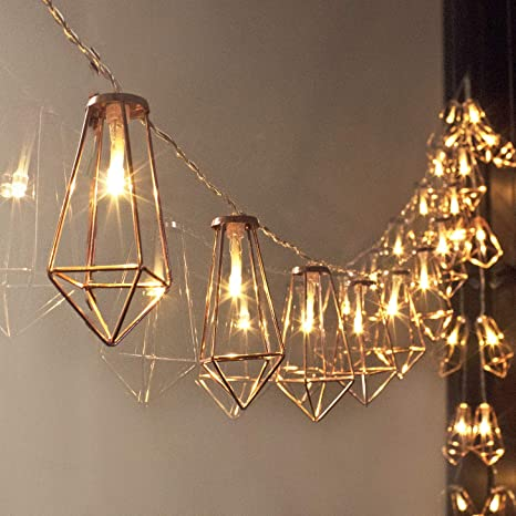 various colors c26fd cfada LuxLumi Diamonds are Forever Rose String Lights Gold & Wire Caged,  Batteries Included Soft White 20 LED for Bedroom, Living Room, Home Décor,  Party, ...