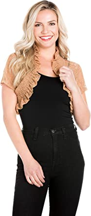 Fashion Secret Women`s Brown 3//4 Chiffon Bolero Shrug Cropped Jacket Cardigan