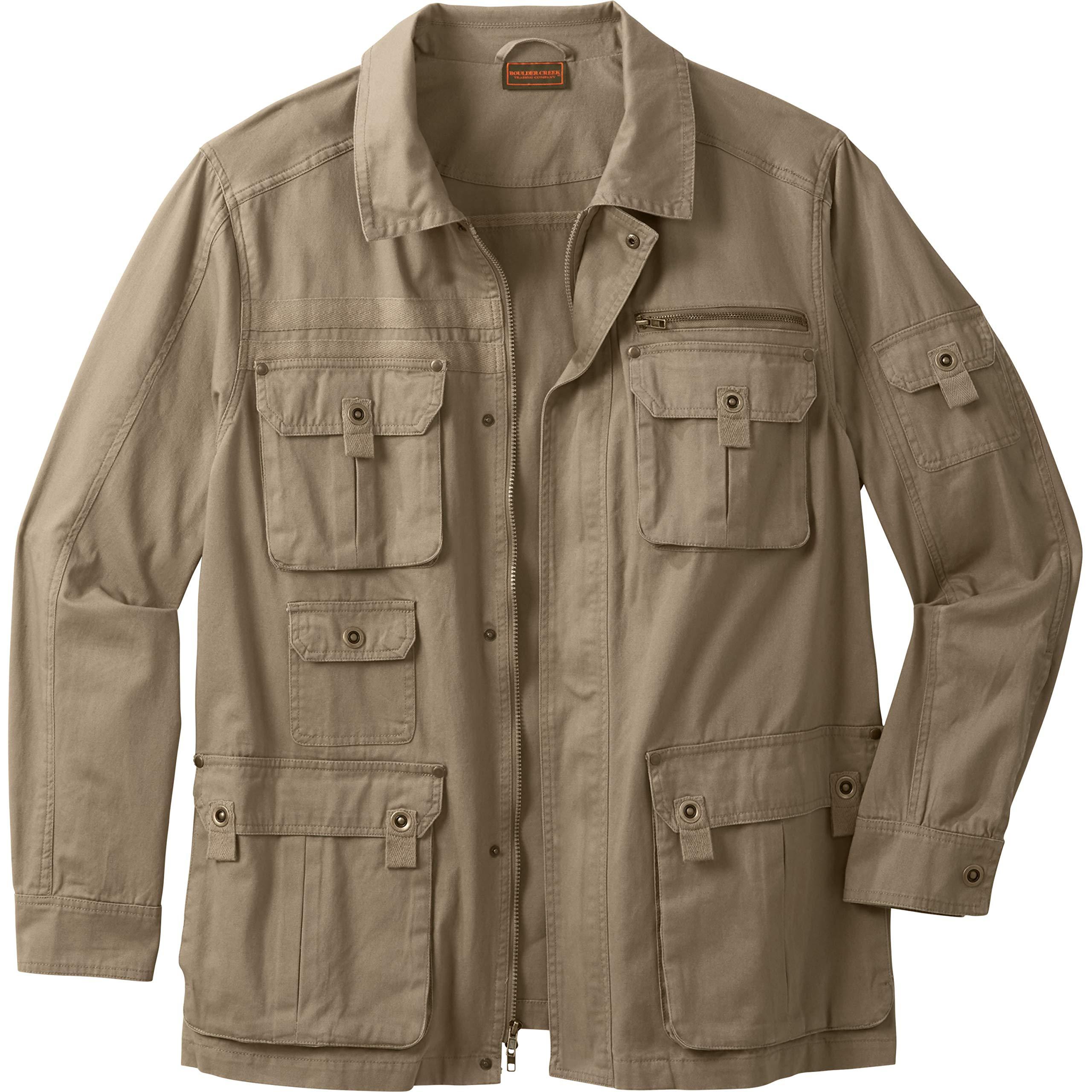 Boulder Creek Men's Big & Tall Multi-Pocket Twill Jacket, Dark Khaki Tall-L