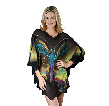 Silk Cocoon Women Tunic Tops Hand Painted Butterflies with Crystals - Pure  Silk E23 Black Small