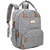 Changing Bag Backpack, Baby Diaper Bag Nappy Back Pack with Changing Mat for Mom and Dad (Grey)