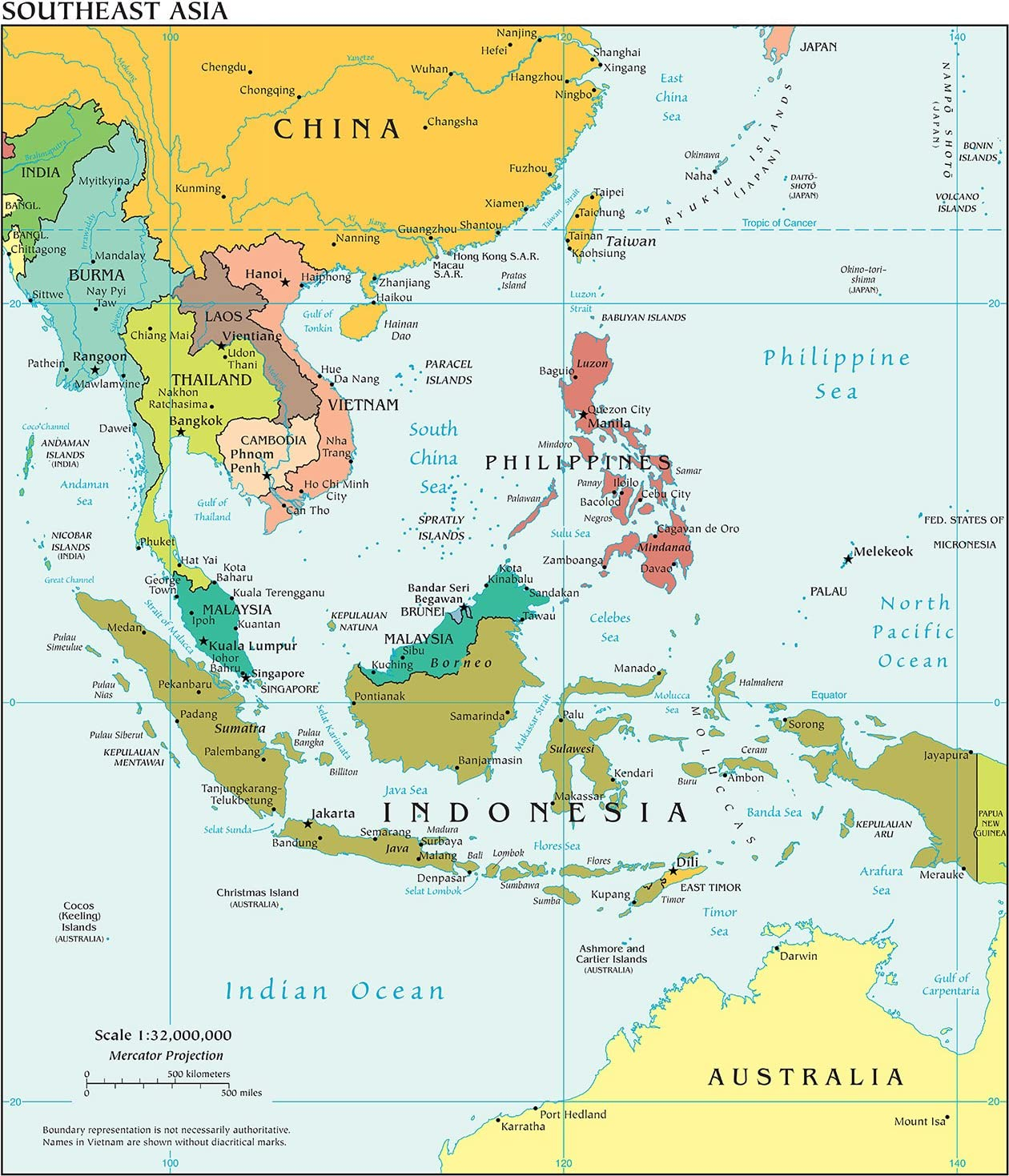 Amazon.com: VintPrint Map Poster - Southeast Asia Political ...