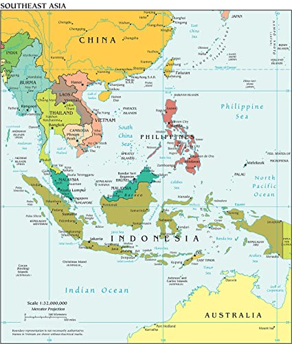 Southeast Asia Map Political.Amazon Com Map Poster Southeast Asia Political Map 20 5 X24
