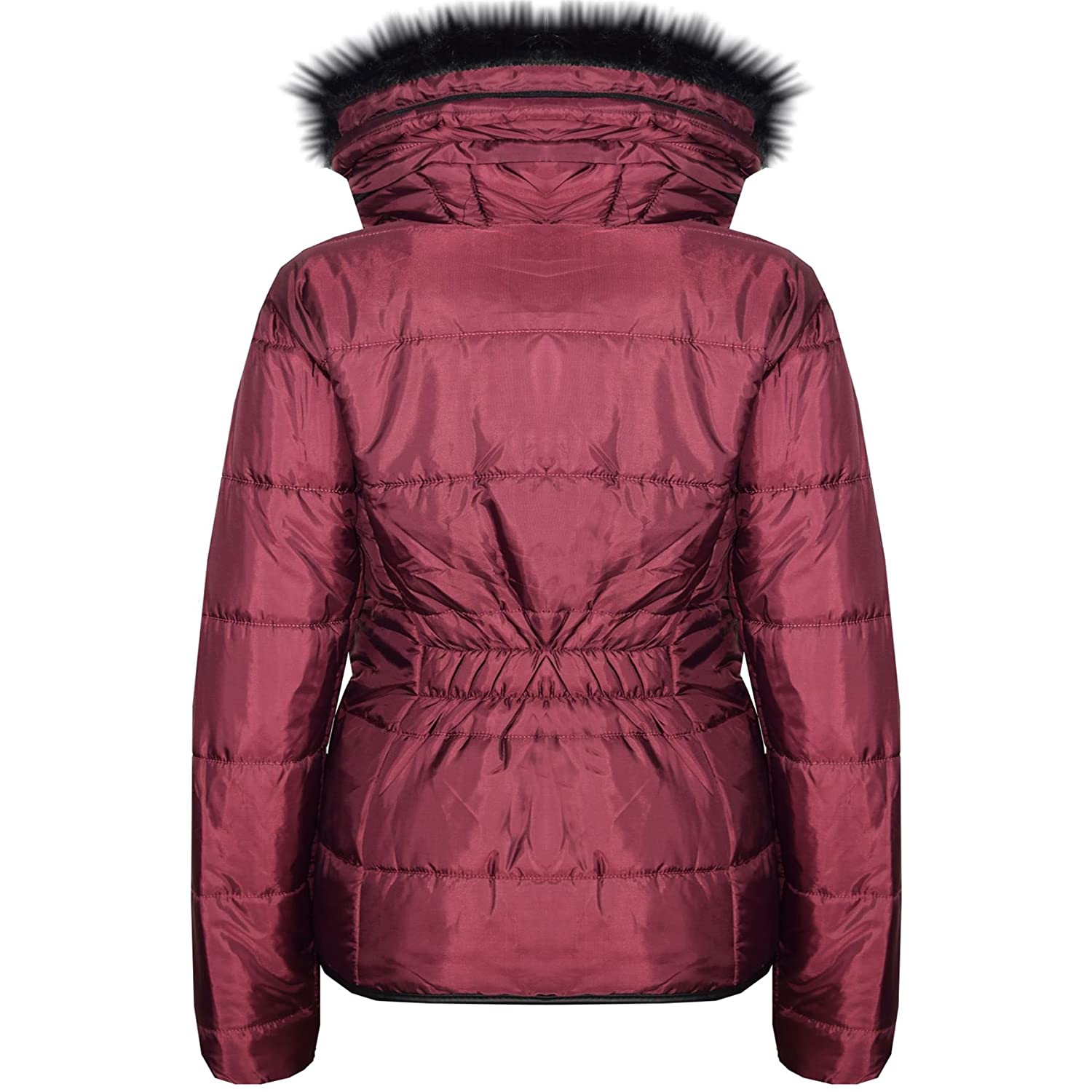 Girls Jackets Kids Wine Padded Puffer Bubble Faux Fur Collar Quilted Warm Coats