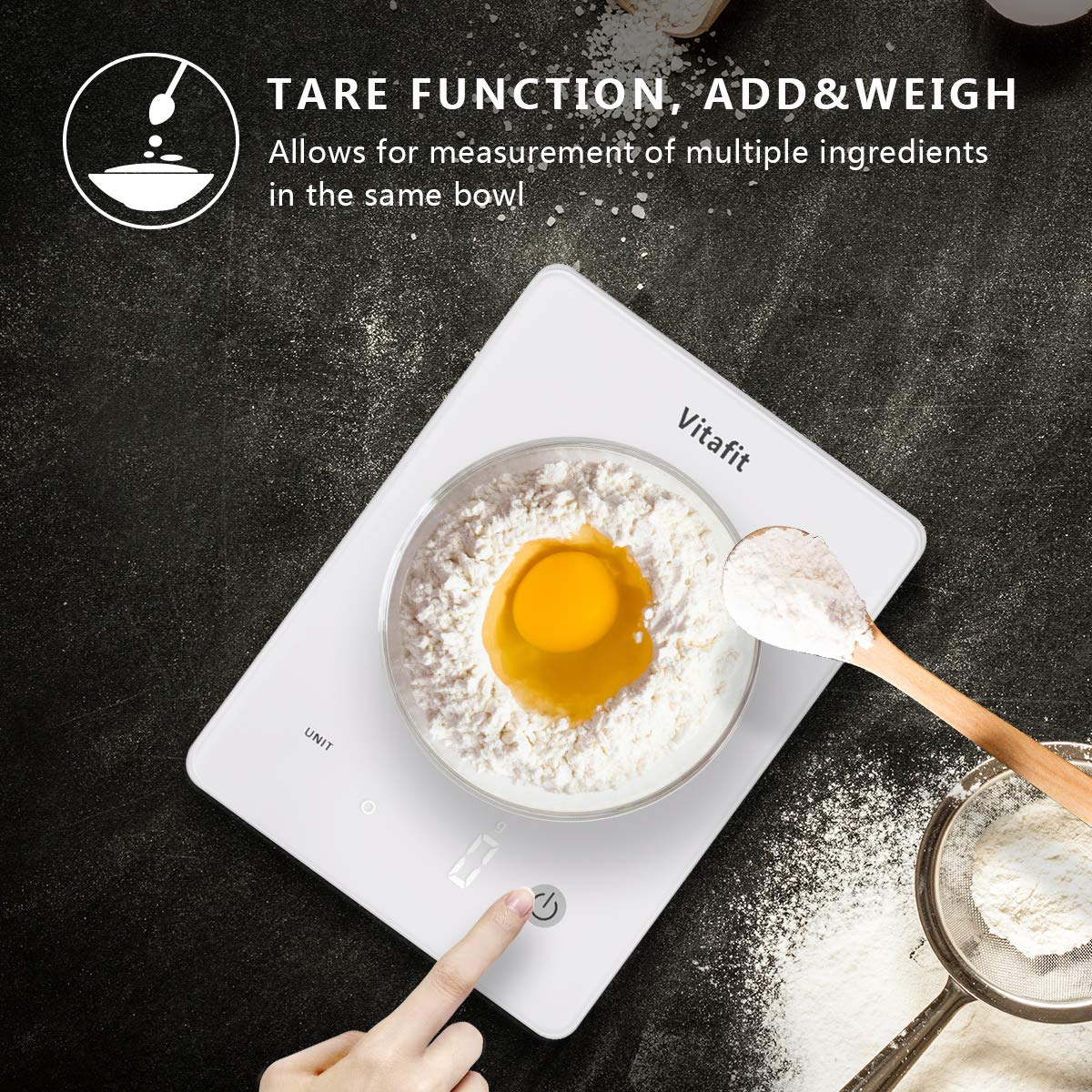 Vitafit 10kg Digital Food Kitchen Scales,Electronic Weighing Cooking Scale with Tempered Glass Platform and Bright LED Display,Tare Function,Ultra Slim Design,White