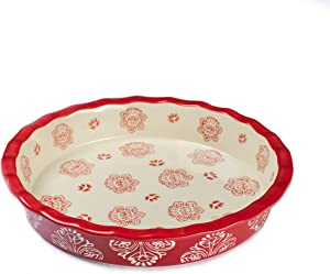 """Oven to Table Ruffled Pie Plate Dish (Red) - 100% Stoneware Ceramic Baking Dishes for Cooking & Serving, 1.41 Quart Deep Dish Pie Pan Bakeware is Dishwasher & Microwave Safe - 9"""" x 1.5"""" Cookware Pans"""