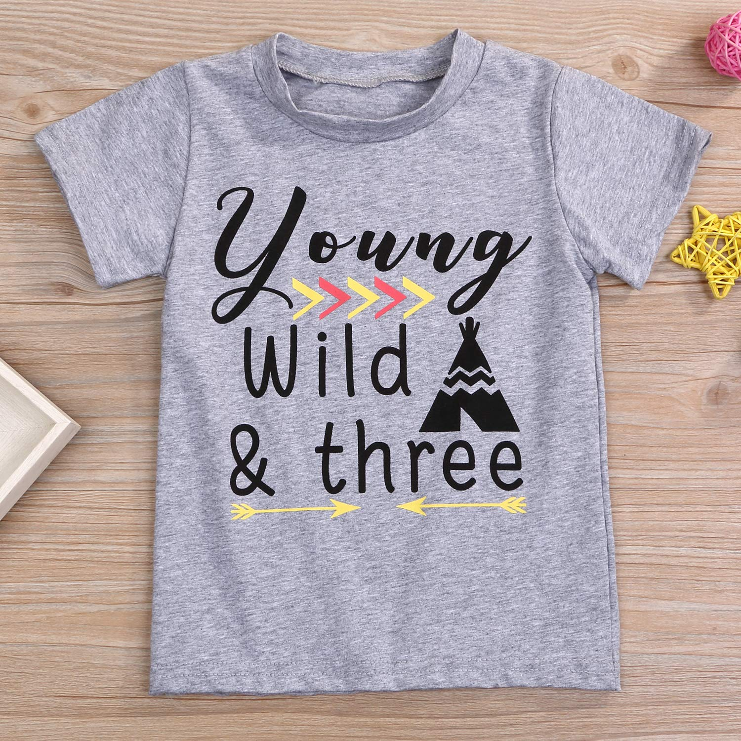 YOUNGER STAR 1PC Children Baby Boy Gray Letter Print Short Sleeve T-Shirt Clothes Outfit