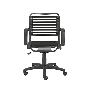 Euro Style Flat Bungie Mid Back Adjustable Office Chair With Arms, Black  Bungies With Graphite