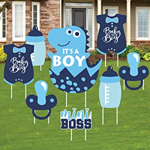 Teblacker 8 pcs Its A Boy Birthday Party Yard Signs Dinosaur Baby Shower Decor Mini Boss Baby Shower Sign Baby Girl Party Decor Birthday Outdoor Lawn Decorations Baby Shower Party Supplies