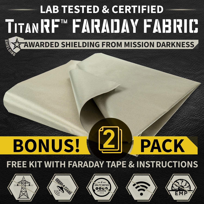 Wi-Fi and Cell Signal Blocking EMI Shielding Anti Radiation Faraday Cage Enclosure EMF Isolation Free 1 x 24 Faraday Tape Grounding Fabric Upgraded EMF Shielding Faraday Fabric 44 x 39 RF