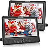 FANGOR 10.5 Dual DVD Player for Car Portable Headrest Video Players with 2 Mounting Brackets, 5 Hours Rechargeable Battery, L