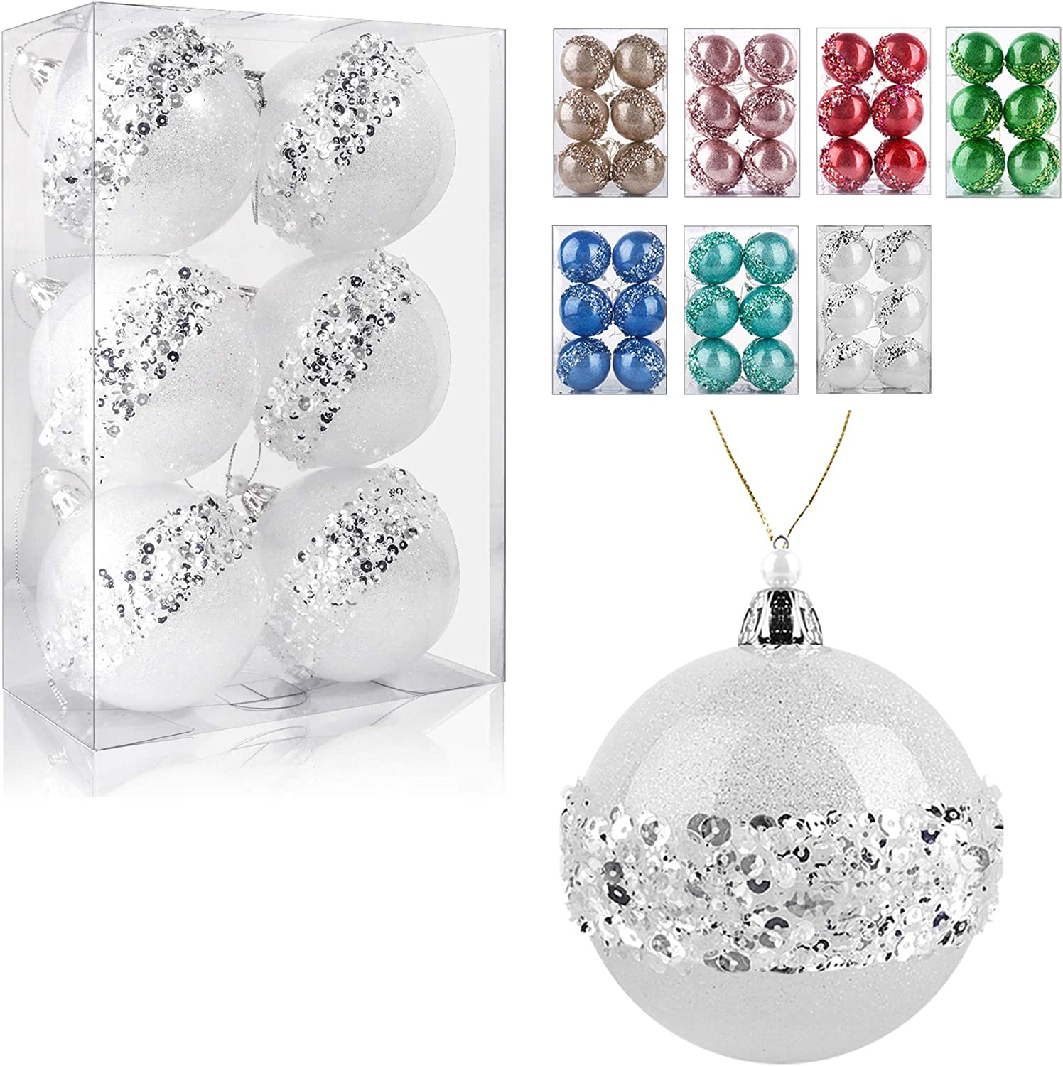 3.15Inch Clear Ornaments Balls,6pc Set White Christmas Ball Decorations Ornaments Perfect Party Decorations Craft Transparent Ball Gifts for Wedding Party Decor (White)