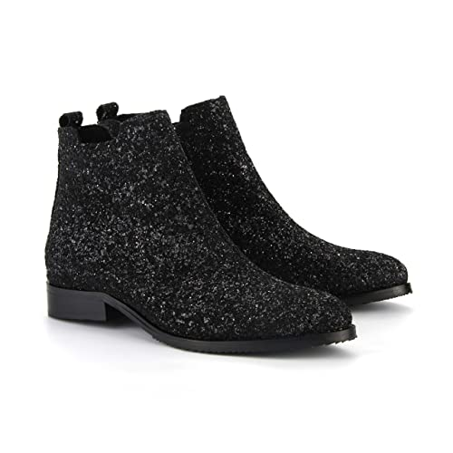 ae7d2921f8f8 Amazon.com  Girl Boss New York Women s Black Glitter Bootie  Handmade
