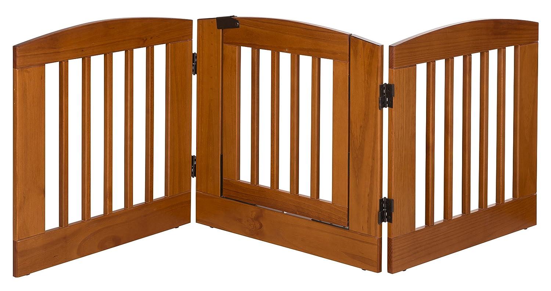 (60cm H Three Panels, Chestnut) BarkWood Pets Freestanding Wood Pet Gate with Walk-Thru Door