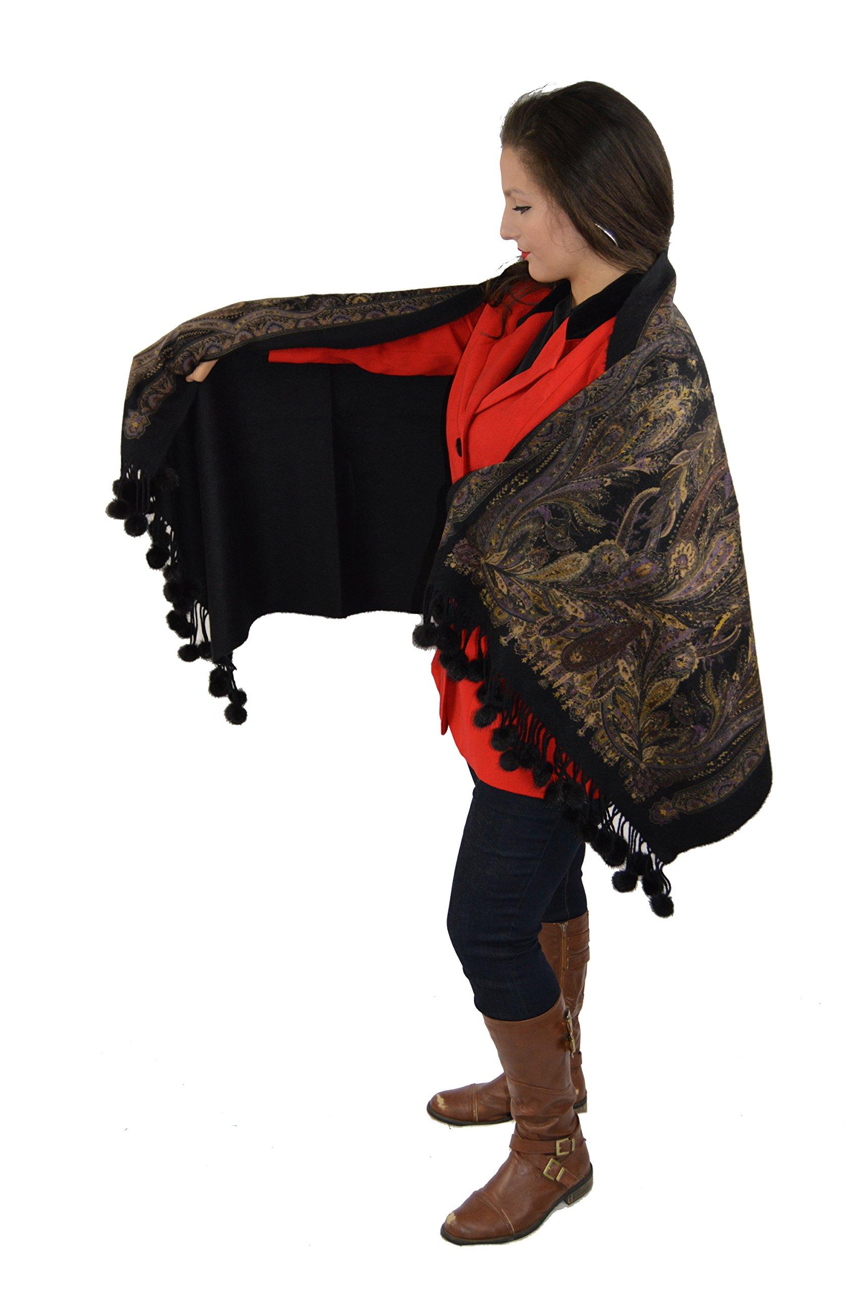Cashmere Pashmina Group-Cashmere Shawl Scarf Wrap Stole (Solid/ Reversible Print w/ Genuine Fur) - Mink Black by Cashmere Pashmina Group (Image #3)