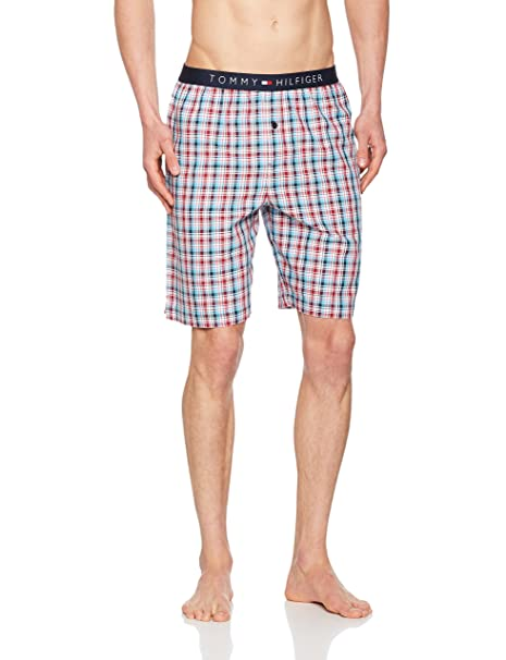 7c51ae123d2 Tommy Hilfiger Men s s Woven Short Summer Check Turquoise (Bachelor Button  495)