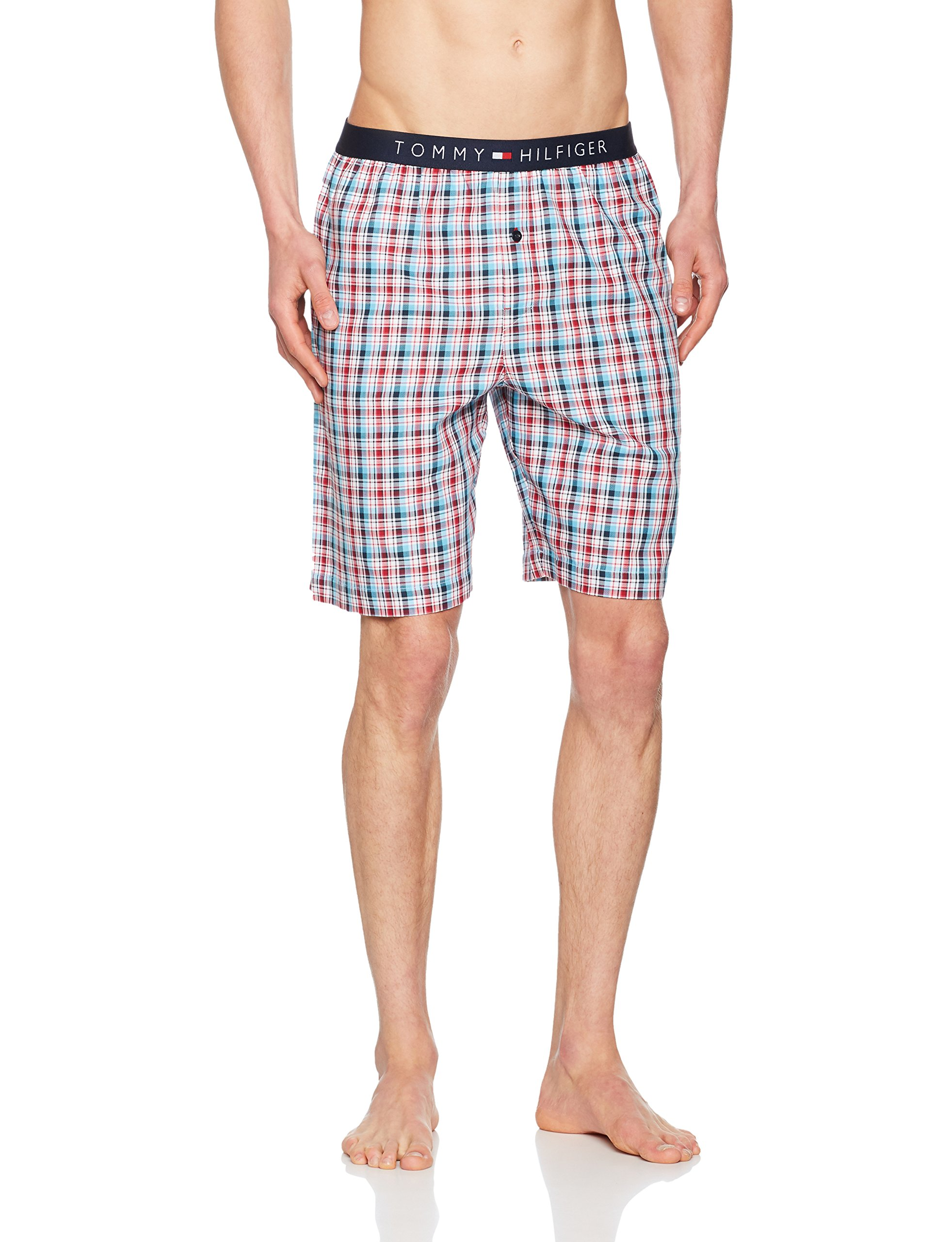 Tommy Hilfiger Men's Summer Check Woven Lounge Shorts, Red/White/Blue Medium Red/white/blue